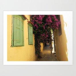 narrow cute street in greece Art Print