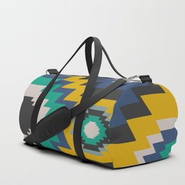 Ethnic in blue, green and yellow Duffle Bag