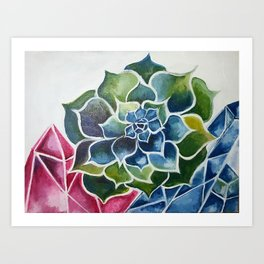 Succulents & Crystals Art Print
