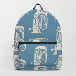 Tuba Pattern Blue and Beige Backpack