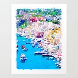 Mediterranean Harbour Art Print