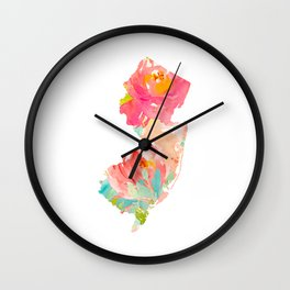 new jersey floral state map Wall Clock