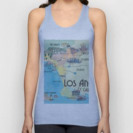 Greater Los Angeles Fine Art Print Retro Vintage Map with Touristic Highlights in colorful retro pri Unisex Tank Top
