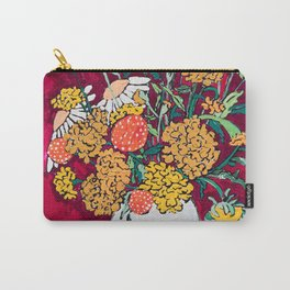 Marigold, Daisy and Wildflower Bouquet Fall Floral Still Life Painting on Eggplant Purple Carry-All Pouch