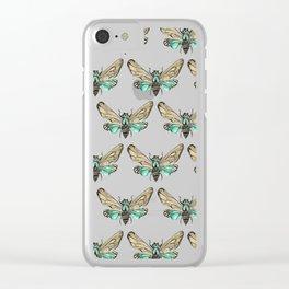 Summer Cicada – Mint & Tan Palette Clear iPhone Case
