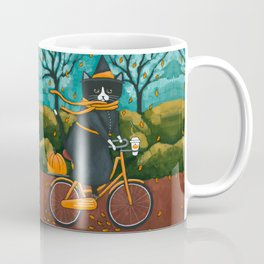 A Witchy Cat Autumn Bicycle Ride Coffee Mug