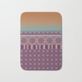 Purple Teal Orange Boho Mandala Tile Ombre Mixed Pattern Bath Mat