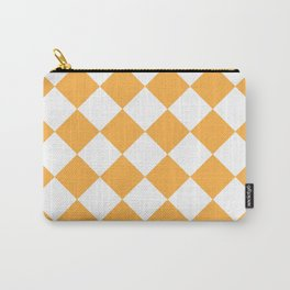 Large Diamonds - White and Pastel Orange Carry-All Pouch