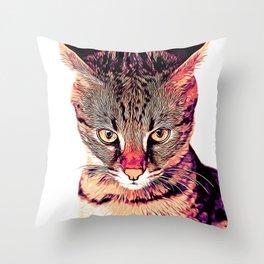 savannah cat portrait valsh Throw Pillow
