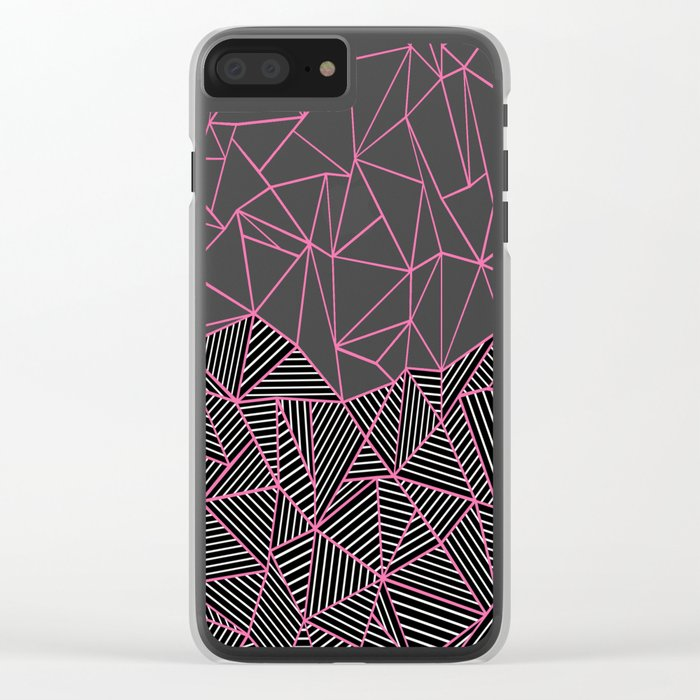 Ab Half an Half Black and Pink Clear iPhone Case