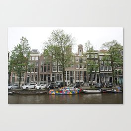 Abstract Amsterdam Boat Art Canvas Print