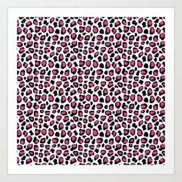 Leopard Animal Print Hot Pink Black Spots Art Print