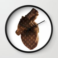 lv Wall Clocks featuring Heart LV by partyboyfriend
