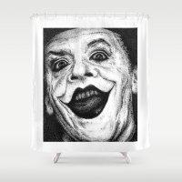 jack nicholson Shower Curtains featuring Jack Nicholson Joker Stippling Portrait by Joanna Albright