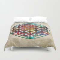 flower of life Duvet Covers featuring Flower of Life by Klara Acel