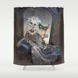 Catrina in Waiting Skeleton Large Format Shower Curtain