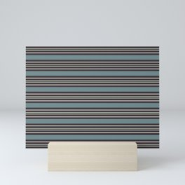 Blue-Green Beige Purple Horizontal Line Pattern 2021 Color of the Year Aegean Teal and Accent Shades Mini Art Print