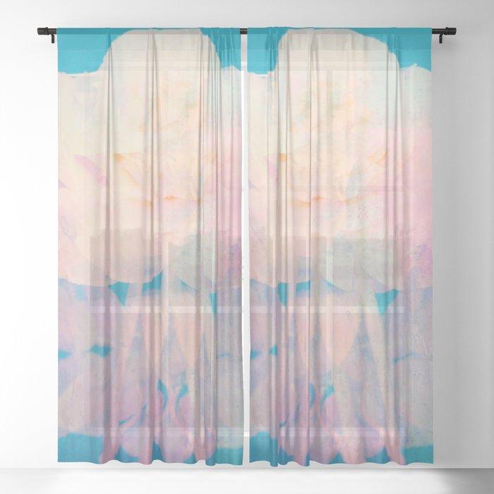 Rotation - Botanical Surrealism Blue Beige Sheer Curtain