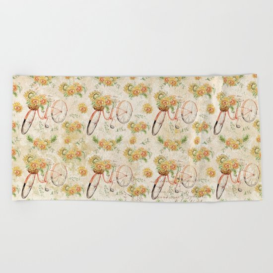 Vintage Sunflowers #11 Beach Towel