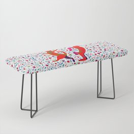 Dancing cats among spring flowers, swing & rock. Chats dansant dans les fleurs de printemps Bench