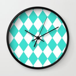 Diamonds (Turquoise/White) Wall Clock
