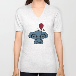cute elephant with glasses holding a balloon Unisex V-Neck
