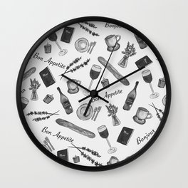 Bon Appetite in black and white Wall Clock