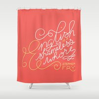 shameless Shower Curtains featuring English is a Shameless Whore, Stephen Fry by A Rose Cast
