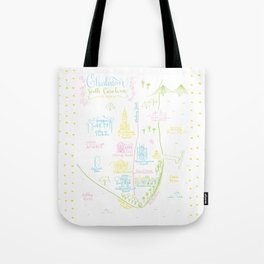 Charleston, South Carolina Illustrated Calligraphy Map Tote Bag