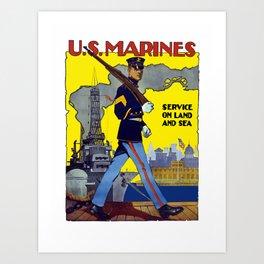 U.S. Marines -- Service On Land And Sea Art Print