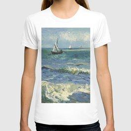 The Sea at Les Saintes-Maries-de-la-Mer by Vincent van Gogh T-shirt