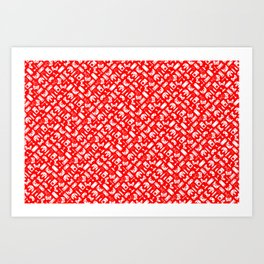 Control Your Game - White on Red Art Print