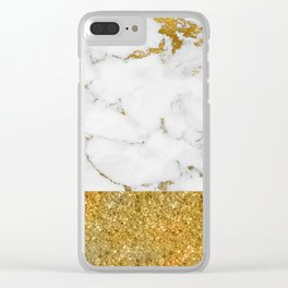 Luxury and glamorous gold glitter and white and gold marble Clear iPhone Case