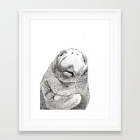 manatee Framed Art Prints featuring Manatee by Adrienne Lobl