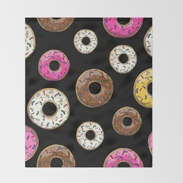 Funfetti Donuts - Black Throw Blanket
