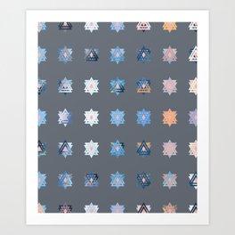 Triniti Snow Crystal Grey Art Print