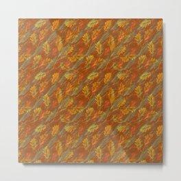 Autumn rain of rusty orange leaves on marble Metal Print