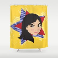 mulan Shower Curtains featuring I am Courageous - Fa Mulan by AmadeuxArt