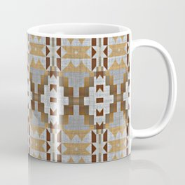 Brown Taupe Tan Gray Native American Indian Mosaic Pattern Coffee Mug