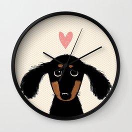 Dachshund Love | Cute Longhaired Black and Tan Wiener Dog Wall Clock