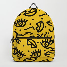 Face Time - retro throwback minimal pattern eyes faces 1980s 80s vintage memphis drawing monochrome Backpack