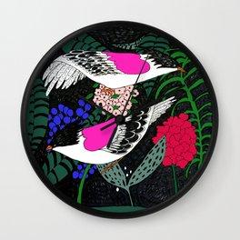 Sgraffito Birds - Bright Fuchsia Botanical Birds and Flowers Wall Clock