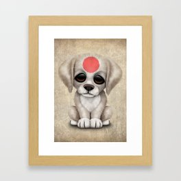 Cute Puppy Dog with flag of Japan Framed Art Print