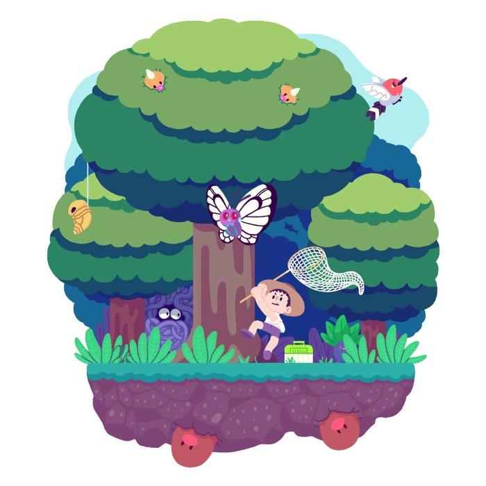 Tiny Worlds - Viridian Forest Duvet Cover