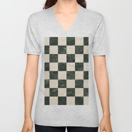 Vintage 64 square checked pattern in B&W marble texture illustration Unisex V-Neck