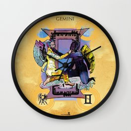"Ars Tarot of the 12 Zodiac: ""Gemini - The Lovers"" Wall Clock"