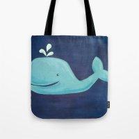 nursery Tote Bags featuring Nursery Whale by Melanie Russo