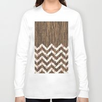 preppy Long Sleeve T-shirts featuring Vintage Preppy Floral Chevron Pattern Brown Wood by Girly Road