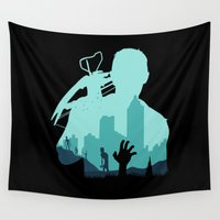 zombies Wall Tapestries featuring Sniping Zombies!!! by Foffo