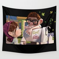 carl sagan Wall Tapestries featuring UP Carl and Ellie by LARiozzi